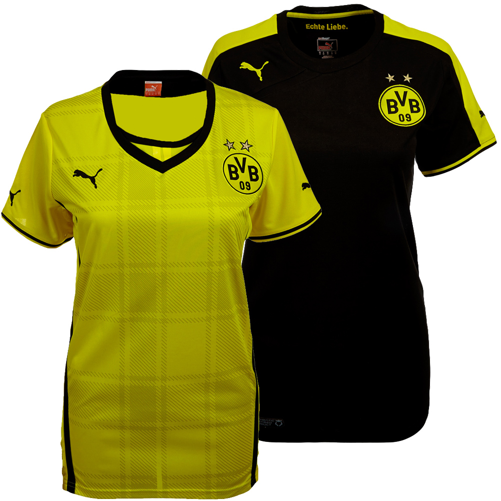 bvb borussia dortmund damen trikot puma heim ausw rts shirt jersey s m l xl neu ebay. Black Bedroom Furniture Sets. Home Design Ideas