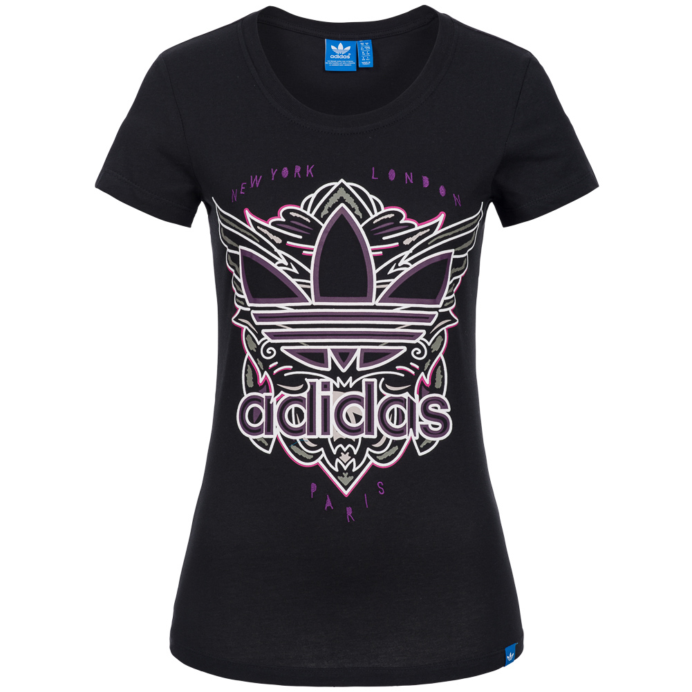 adidas originals damen t shirt women shirt freizeit trefoil logo label. Black Bedroom Furniture Sets. Home Design Ideas