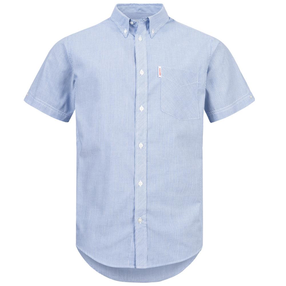 BRUTUS JEANS Herren Kurzarm Freizeit Klassisch Oberteil Button-Down Kragen Hemd