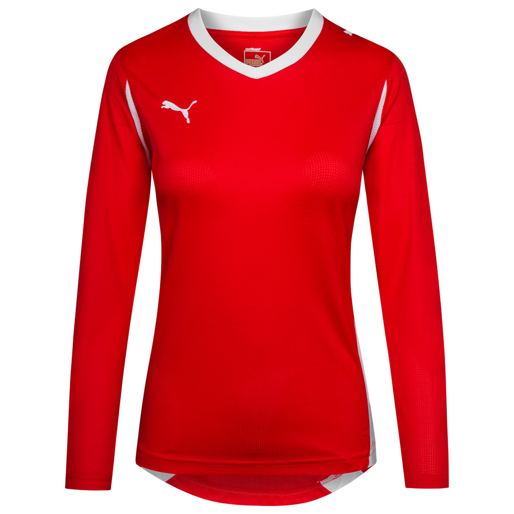 Details zu PUMA PowerCat 5.10 Damen Langarm Trikot Sport Fußball Shirt 700773 01 rot neu