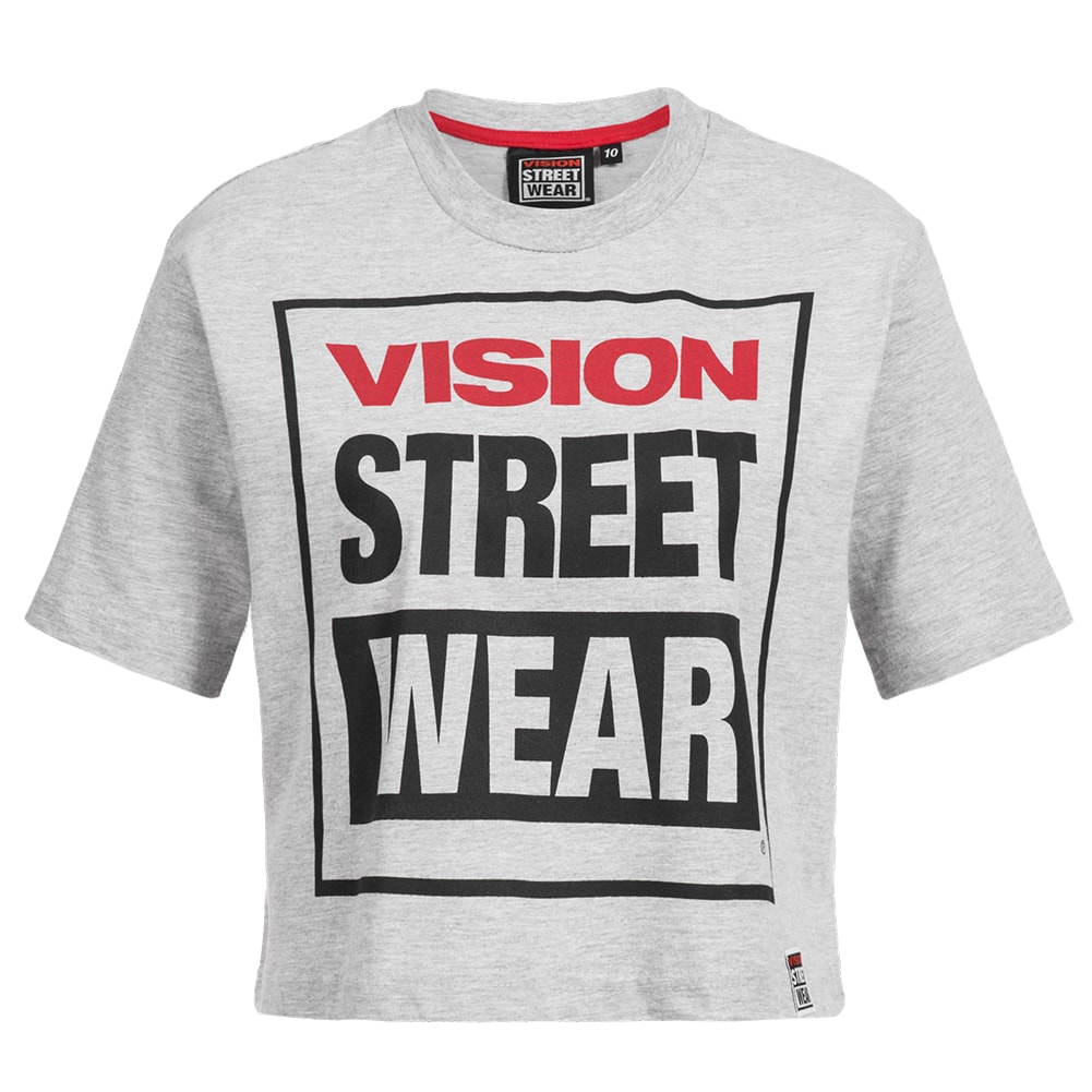 Details about Vision Street Wear Womens Fitness Crew Neck Cropped Workout Tee Shirt cl3103 NEW show original title