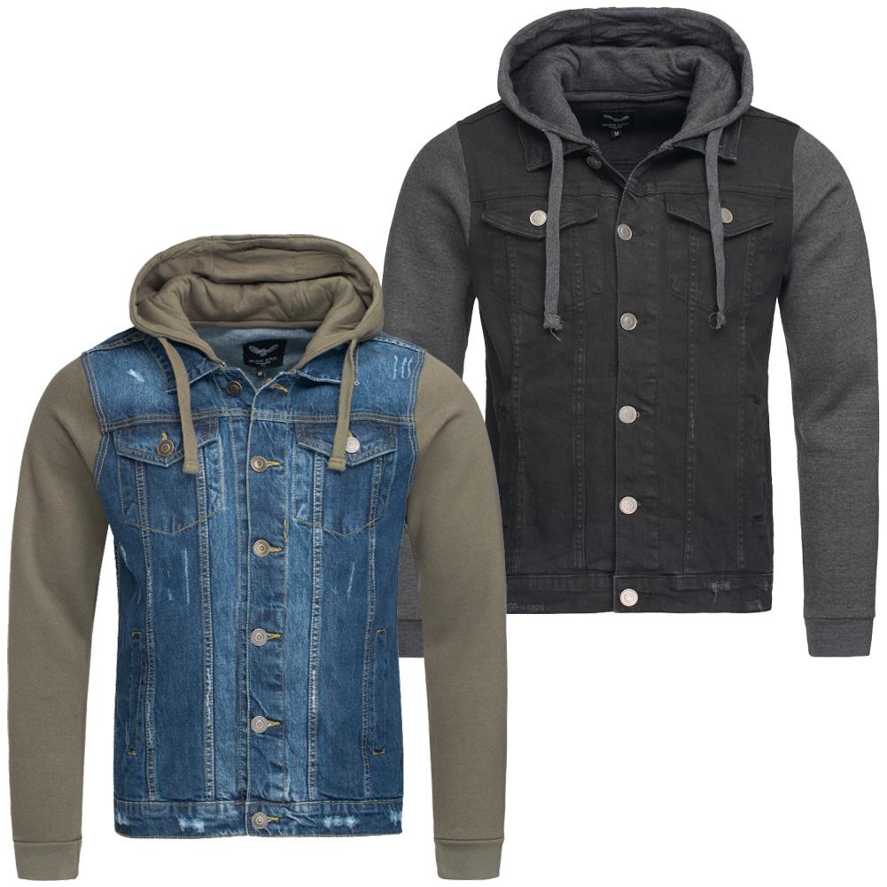 BRAVE SOUL Hudson Black Denim Contrast Herren Jeans Jacke MJK-HUDSON ... 9de2f4862f