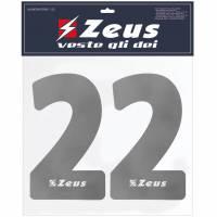 Zeus Nummern-Set 1-22 zum Aufbügeln 23cm Senior silber