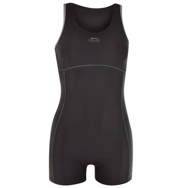 Slazenger Damen Badeanzug mit Bein Black