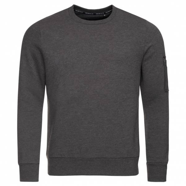 BRAVE SOUL Jacob Crew Neck Zip Pocket Herren Sweatshirt MSS-69JACOB Charcoal