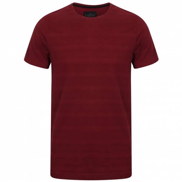 DNM Dissident Leake Herren gestreiftes T-Shirt 1C10436 Deep Red