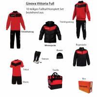 Givova Box Vittoria Full Fußball Set 10-tlg. rot/schwarz