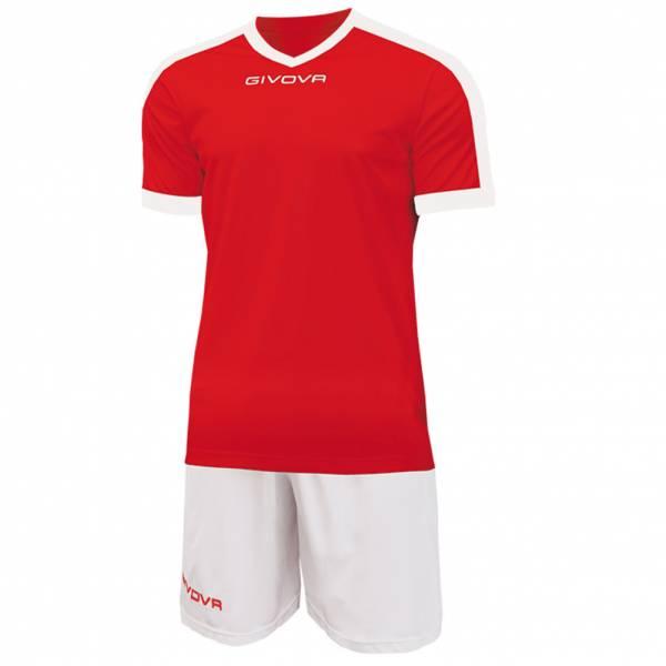 Givova Kit Revolution Fußball Trikot mit Short rot weiß