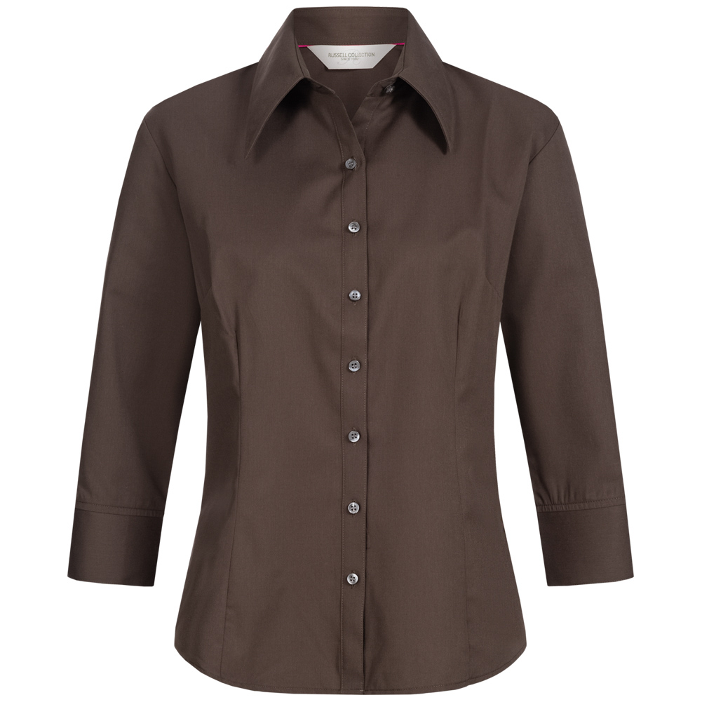 detailing c7557 fc3cf RUSSELL Tencel a maniche lunghe aderente Donna Camicia 0R954F0-Chocolate