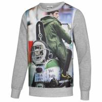 Lambretta Print Crew Herren Sweatshirt CM0633-Grey-Marl