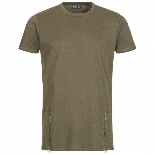 BRAVE SOUL Falcon Herren Double Zip Crew Neck T-Shirt MTS-36FALCONI Mid Khaki