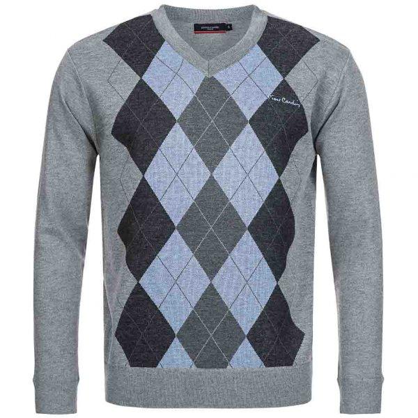 Pierre Cardin Herren Sweatshirt Karo Golf grau