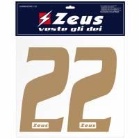 Zeus Nummern-Set 1-22 zum Aufbügeln 25cm Senior gold