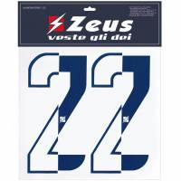 Zeus Nummern-Set 1-22 zum Aufbügeln 25cm Senior halb navy