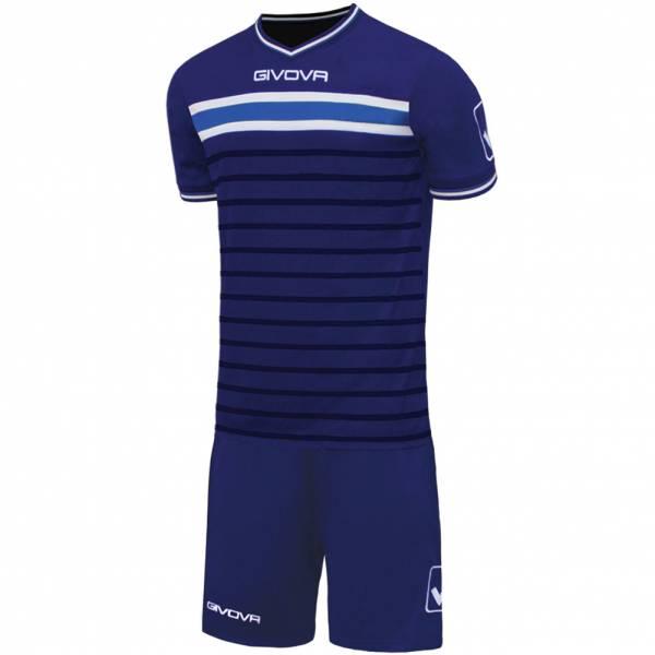 Givova Skill Set da calcio Maglietta con Shorts blu scuro / azzurro