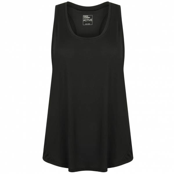 Tokyo Laundry Mancuso 2 Perforated Racer Back Damen Vest Top 3V10518 Black