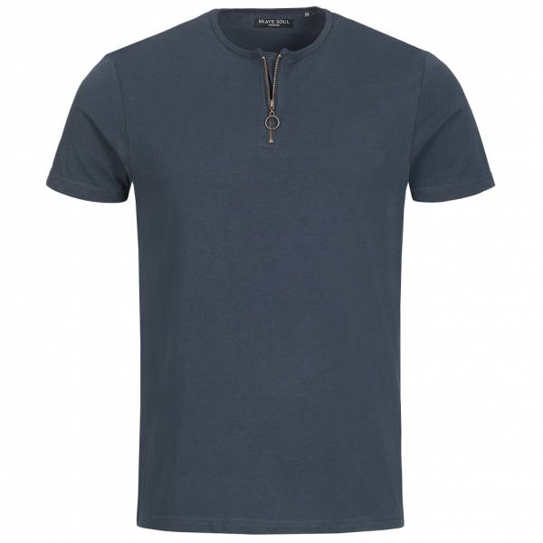 BRAVE SOUL Russell Hommes Col zippé T-shirt MTS-69RUSSELLB Dark Navy
