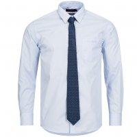 Pierre Cardin Herren Designer Hemd mit Krawatte blau