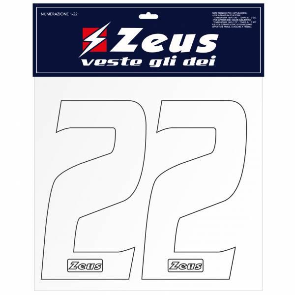 Zeus Kit de transfert des numéros de 1 à 22 25cm senior blanc
