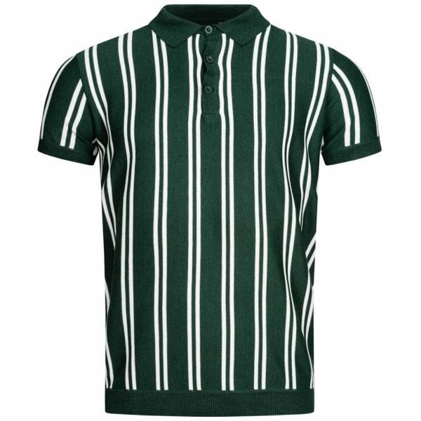 BRAVE SOUL Keaton Knit Stripe Men Polo Shirt MK-517KEATON PINE GREEN