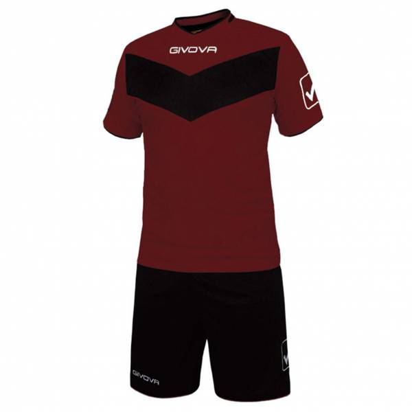 Givova Fußball Set Trikot mit Short Vittoria dunkelrot/schwarz