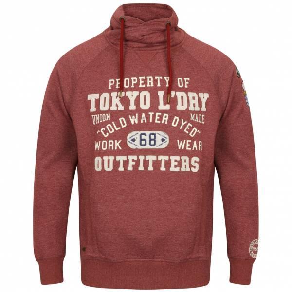 Tokyo Laundry Maplewood Funnel Neck Hoodie Herren Pullover 1D9596 Oxblood