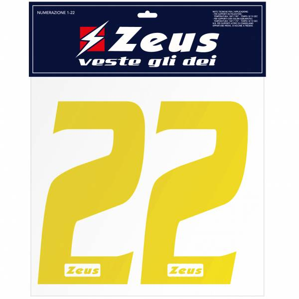 Zeus Números termoadhesivos 1-22 10cm amarillo
