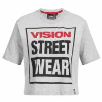 Vision Street Wear Femmes Fitness Cropped  T-shirt CL3103 gris chiné