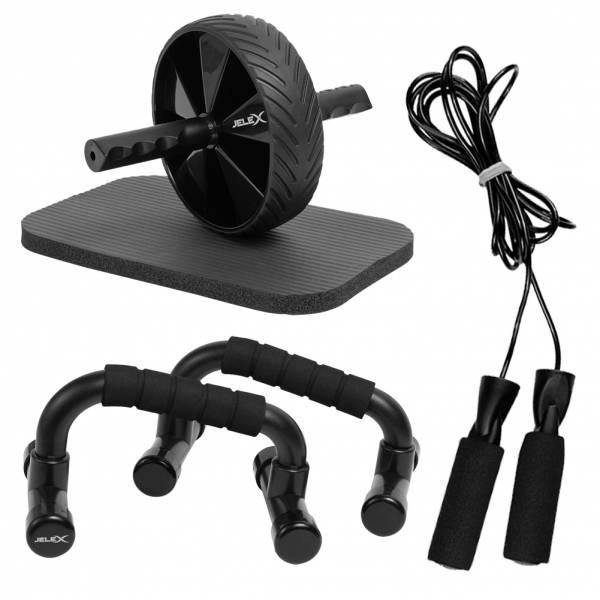 JELEX Workout Trio 3 in 1 Maniglie per flessioni, corda per saltare e ruota per addominali
