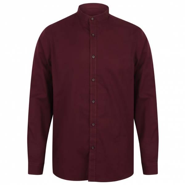 Tokyo Laundry Kampala Grandad Collar Men's Shirt 1H9635 Wine
