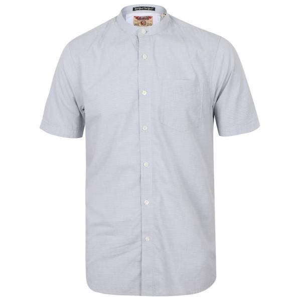 Tokyo Laundry Scandi Grandad Collar Herren Kurzarm Hemd 1H10745 Pearl Blue