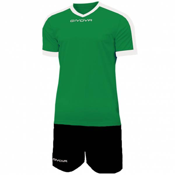 Givova Kit Revolution Football Jersey with Shorts green black