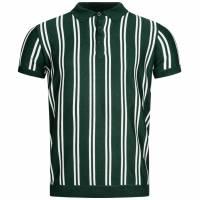 BRAVE SOUL Keaton Knit Stripe Herren Polo-Shirt MK-517KEATON PINE GREEN