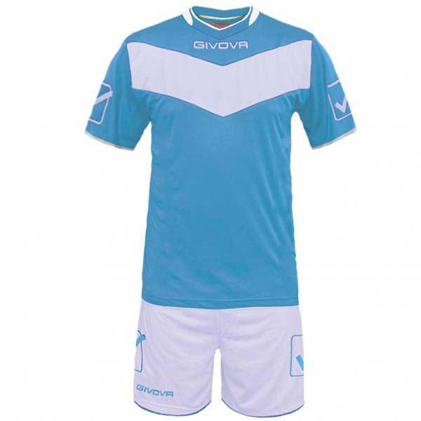 Givova football set jersey with Short Vittoria light blue / white