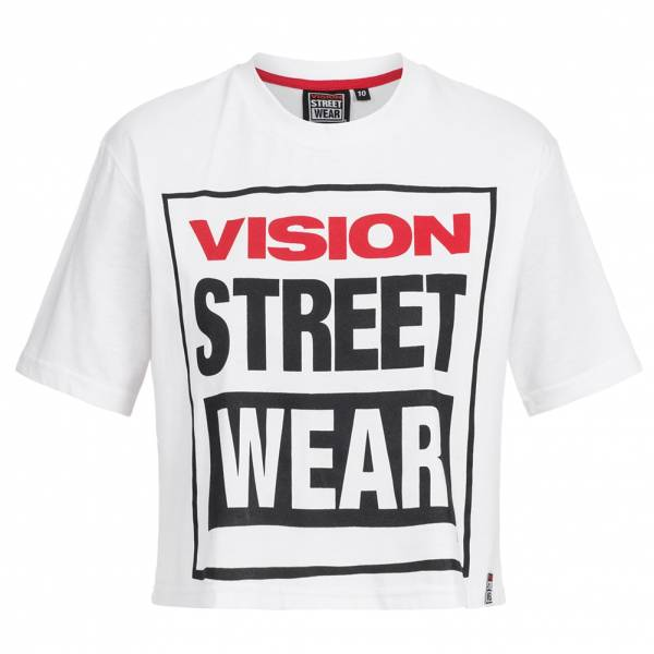 Vision Street Wear Damen Fitness Crew Neck Cropped Tee Shirt CL3103 white