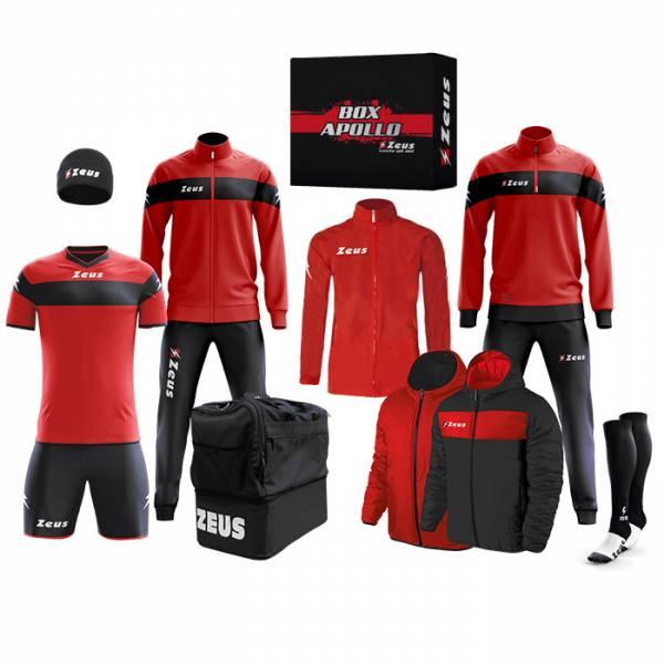 Zeus Apollo Conjunto de fútbol Caja con equipación de 12 piezas Negro Rojo