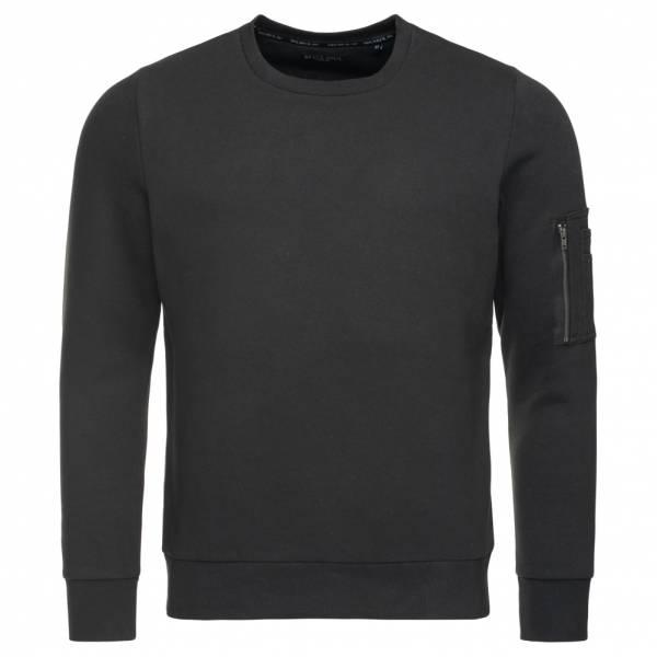BRAVE SOUL Jacob Crew Neck Zip Pocket Herren Sweatshirt MSS-69JACOBB Black