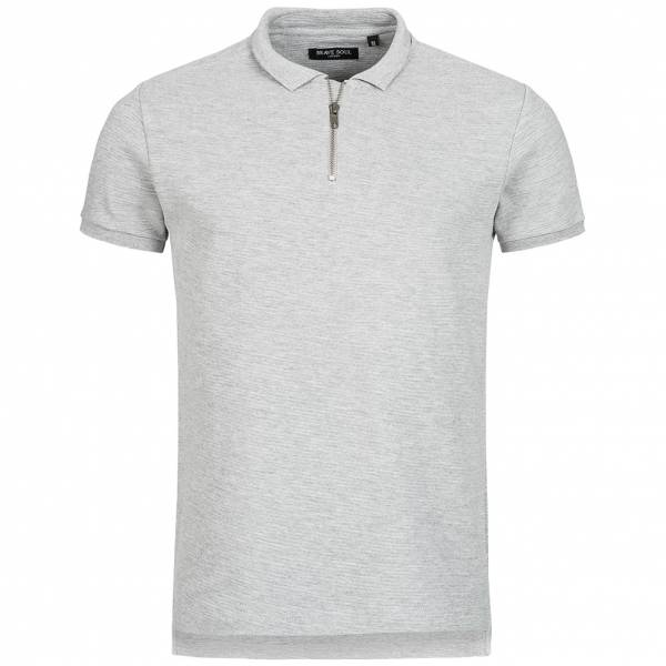 BRAVE SOUL Romeo Herren Zip Neck Polo-Shirt MPS-412ROMEO Light Grey Marl