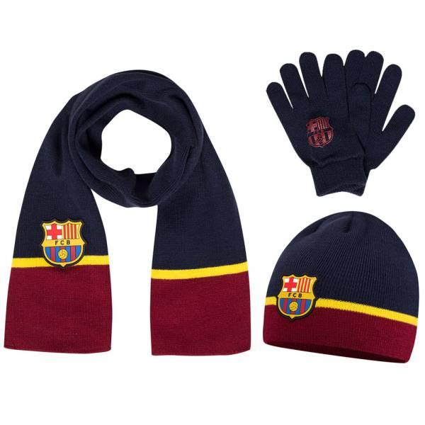 FC Barcelona Kinder Winter Set Handschuhe + Schal + Beanie FCB-3-203