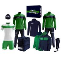 Zeus Apollo Football Kit Teamwear Box 12 pieces Navy Green