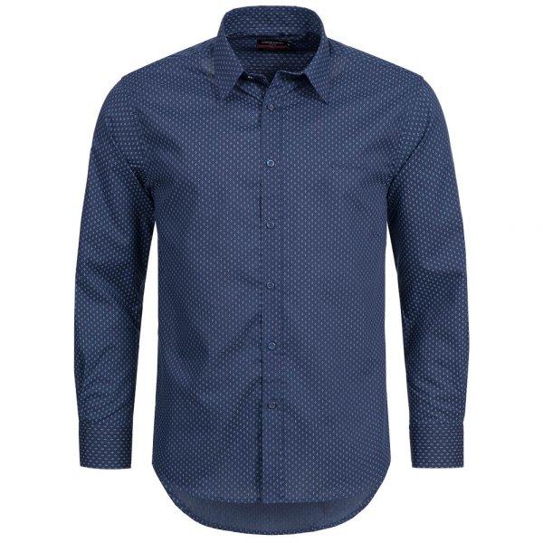 Pierre Cardin Herren Langarm Hemd dunkelblau