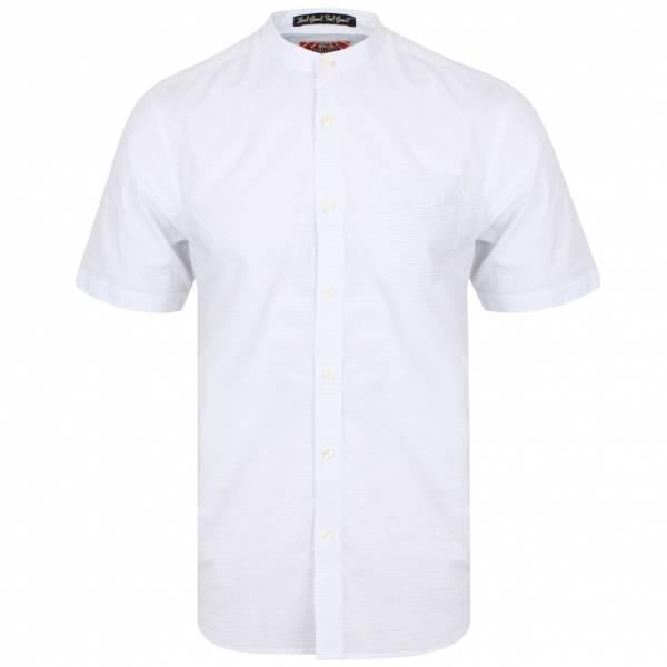 Tokyo Laundry Scandi Grandad Collar Herren Kurzarm Hemd 1H10745 White