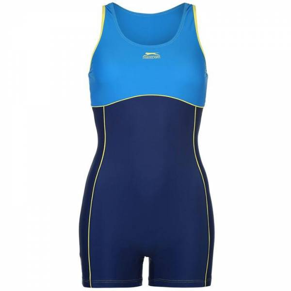 Slazenger Damen Badeanzug mit Bein Blue/Lemon