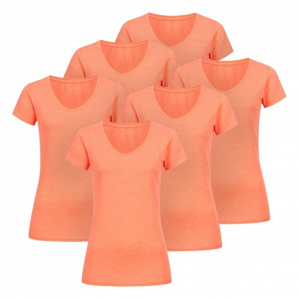 RUSSELL V-Neck Tee 6er-Pack Damen T-Shirt 0R166F0-Coral-Marl