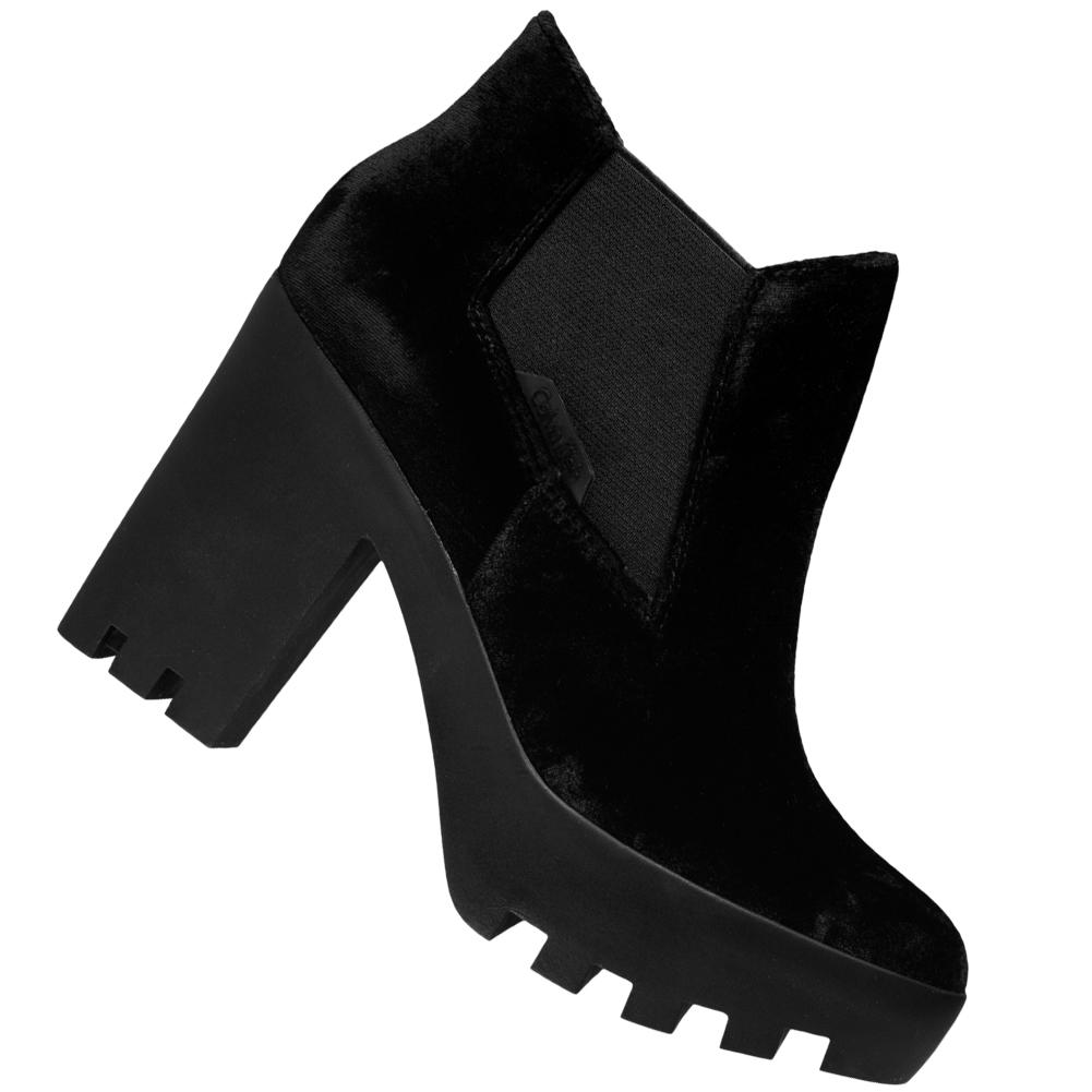 Calvin Klein Jeans Sandy Velvet Damen Plateaustiefeletten R0590BLK