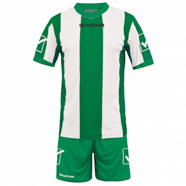 Givova Soccer Set Jersey con Short Kit Catalano Verde / Bianco