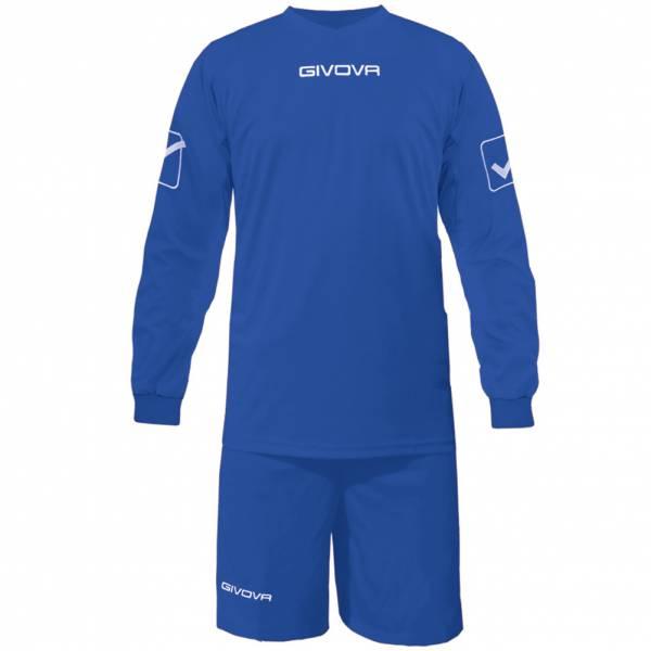 Givova Fußball Set Langarmtrikot mit Short Kit Givova blau