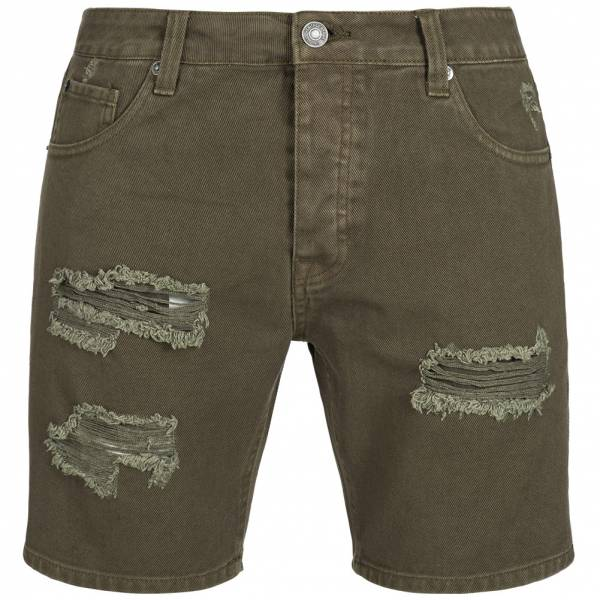 BRAVE SOUL Bratby Rip Denim Herren Jeans Shorts MSRT-BRATBYRIP Khaki