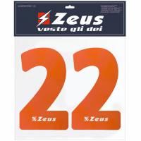 Zeus Nummern-Set 1-22 zum Aufbügeln 23cm Senior orange