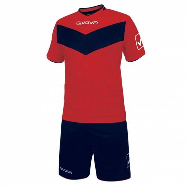 Givova Fußball Set Trikot mit Short Vittoria rot/navy